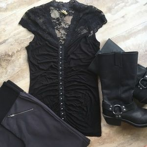 Tops - Sexy Dressy Lace Hook and Eye Short Sleeve Shirt